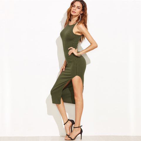 Side Slit Ribbed Dress