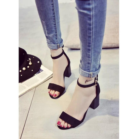 Summer Thick Mid Heel Sandals - DendiShop