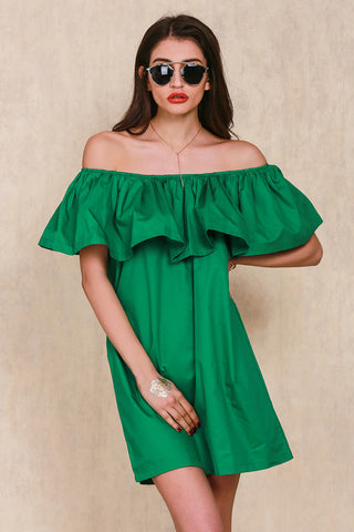 Ruffles Slash Neck Dress