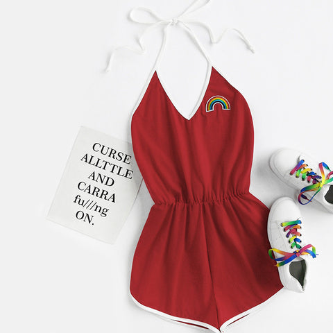 Summer Red Sleeveless Romper