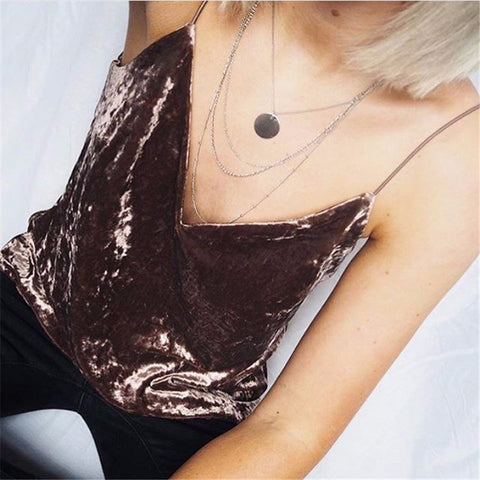 Sleeveless Velvet Tank Top