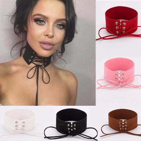 Lace Up Women Jewelry Punk Gothic Choker Necklace Vintage Velvet Leather Collares Anime - DendiShop