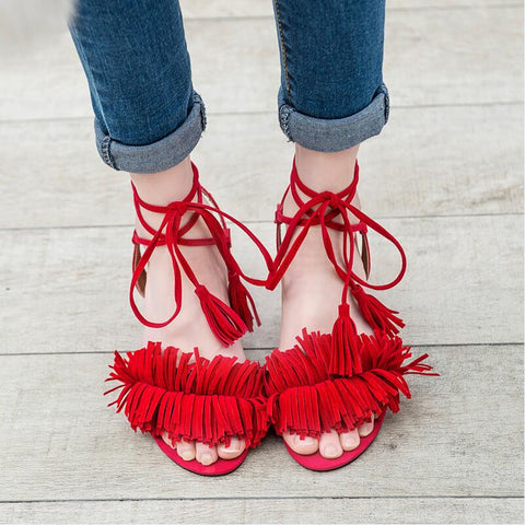 C H L O E Ankle-Wrap Tassel Sandals