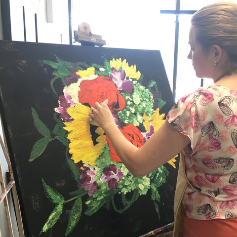 custom art ginger myers bouquet painting