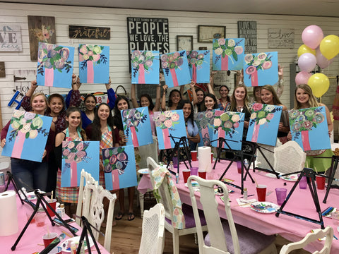 team building corporate event party ginger myers art painting instruction