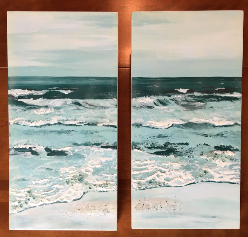 encaustic wax painting beach scene seascape