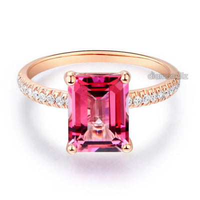 14K Rose Gold Wedding Engagement Ring 2.8 Ct Pink Topaz 0.16 Ct Natural Diamonds - diamondiiz.com