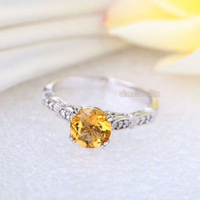 Vintage Style 14K White Gold Engagement Ring 1.2 CT Citrine Natural Diamonds - diamondiiz.com