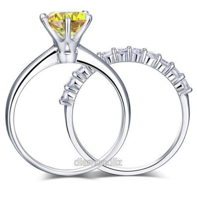925 Sterling Silver 6 Claws Ring Set Yellow Canary Lab Created Diamond - diamondiiz.com
