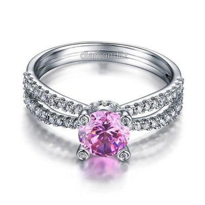 925 Sterling Silver Anniversary Ring Fancy Pink Lab Created Diamond - diamondiiz.com