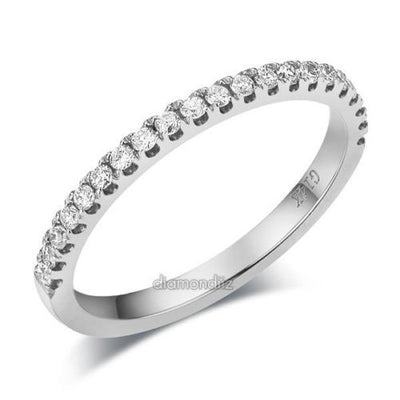 14K White Gold Stackable Wedding Band Ring Half Eternity Natural Diamond - diamondiiz.com