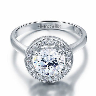 Sterling 925 Silver Halo Bridal Engagement Ring 2 Ct Brilliant Round Lab Diamond - diamondiiz.com