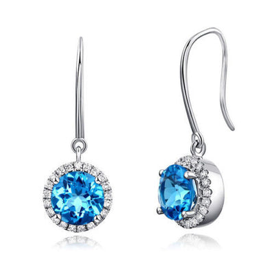 Dangle 14K White Gold Swiss Blue Topaz Earrings Natural 0.298 Ct Diamonds Bridal - diamondiiz.com