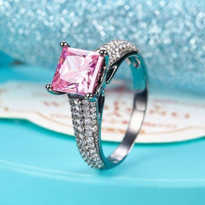 Black 925 Silver Engagement Anniversary Ring Princess Fancy Pink Lab Diamond - diamondiiz.com