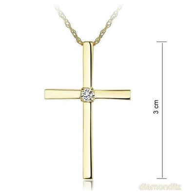 14K Yellow Gold Cross Pendant Necklace 0.08 Ct Diamonds - diamondiiz.com