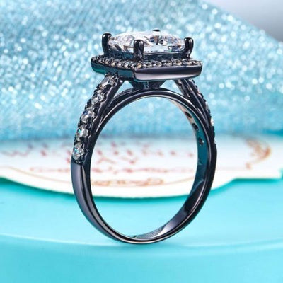 Lab Made Diamond Wedding Engagement Anniversary Ring Black Sterling 925 Silver - diamondiiz.com