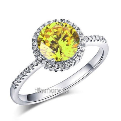 925 Sterling Silver Halo Ring Vintage Yellow Canary Lab Made Diamond - diamondiiz.com