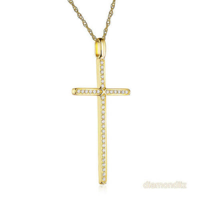 14K Yellow Gold Cross Pendant Necklace 0.3 Ct Diamonds - diamondiiz.com