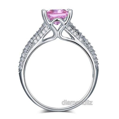 925 Sterling Silver Engagement Ring Princess 1.5 Carat Fancy Pink Lab Diamond - diamondiiz.com