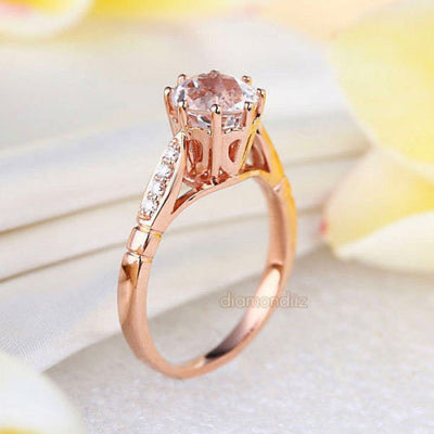 14K Rose Gold Wedding Engagement Ring 1.2 CT Topaz 0.1 CT Natural Diamonds - diamondiiz.com