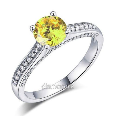 925 Sterling Silver Cathedral Ring Yellow Canary Lab Created Diamond - diamondiiz.com