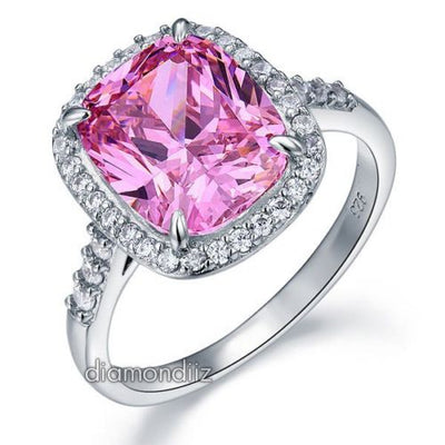 6 Carat Pink Cushion Lab Diamond Halo 925 Sterling Silver Luxury Ring - diamondiiz.com