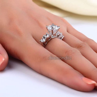 Five-Stone Ring Created Diamond Sterling 925 Silver Wedding Engagement - diamondiiz.com