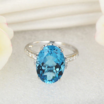 14K White Gold Luxury Ring 6.5 Ct Oval Swiss Blue Topaz 0.22 Ct Natural Diamond - diamondiiz.com