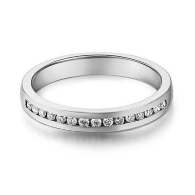 14K Solid White Gold Wedding Band Half Eternity Ring 0.17 Ct Diamonds - diamondiiz.com