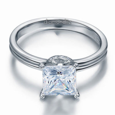 Sterling 925 Silver Wedding Engagement Promise Ring Princess Lab Made Diamond - diamondiiz.com