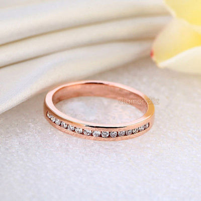 14K Solid Rose Gold Wedding Band Half Eternity Ring 0.17 Ct Diamonds - diamondiiz.com