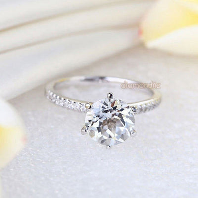 14K White Gold Wedding Engagement Ring 2 CT Topaz 0.12 CT Natural Diamond - diamondiiz.com