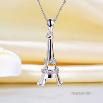 14K White Gold Eiffel Tower Pendant Necklace 0.1 Ct Diamonds - diamondiiz.com