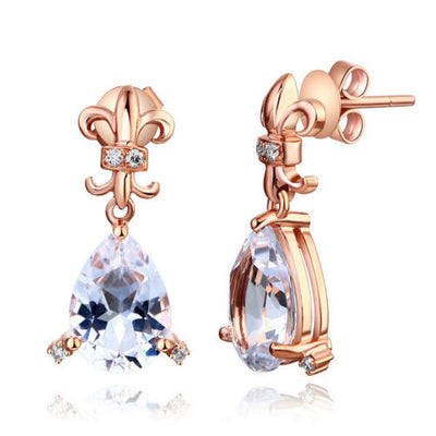 Dangle 14K Rose Gold 3.5 Ct Clear Pear Topaz Earrings Natural 0.07 Ct Diamonds - diamondiiz.com