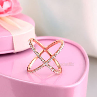 Women 14K Rose Gold Crossover Ring 0.37 Ct Diamond 585 Fine Jewelry - diamondiiz.com