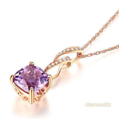 14K Rose Gold Cushion Amethyst Pendant Necklace - diamondiiz.com