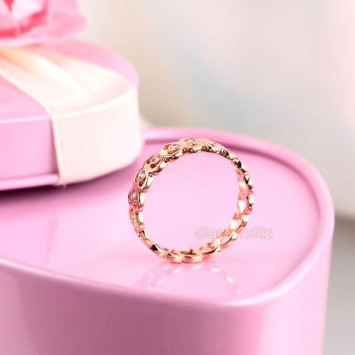 14K Rose Gold Heart Wedding Band Women Ring 0 07 Ct Diamond 585