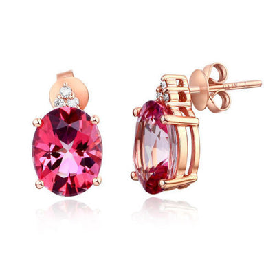 14K Rose Gold 3.5 Ct Oval Pink Topaz Earrings with side Natural Diamonds - diamondiiz.com