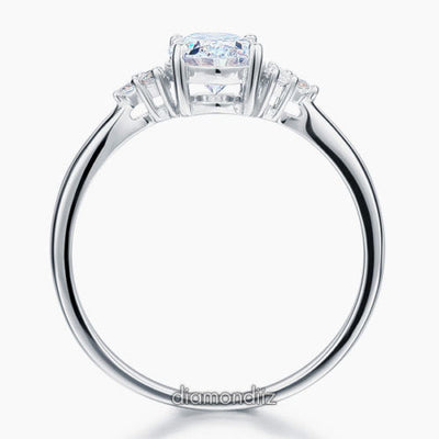 Oval Created Diamond Sterling 925 Silver Ring Wedding Engagement - diamondiiz.com
