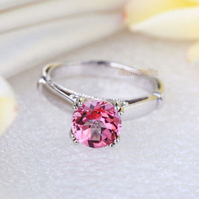 14K White Gold Wedding Engagement Ring 2 Ct Pink Topaz 0.02 CT Natural Diamonds - diamondiiz.com