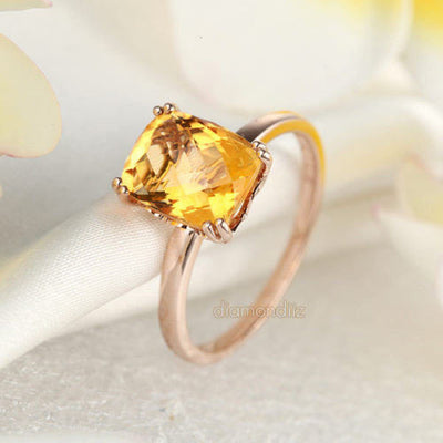 Fine 14K Rose Gold Wedding Promise Anniversary Engagement Ring Yellow Citrine - diamondiiz.com