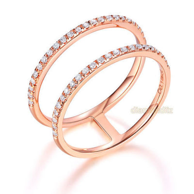 Solid 14K Rose Gold Wedding Ring Double Band 0.18 Ct Diamond 585 Fine Jewelry - diamondiiz.com