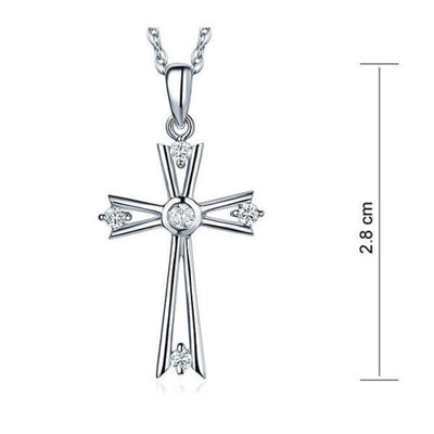 Fine 14K White Gold Cross Pendant Necklace 0.21 Ct Diamond Jewelry - diamondiiz.com