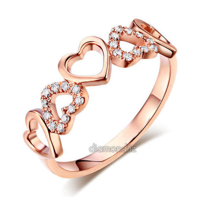 14K Rose Gold Heart Wedding Band Ring 0.12 Ct Natural Diamonds - diamondiiz.com