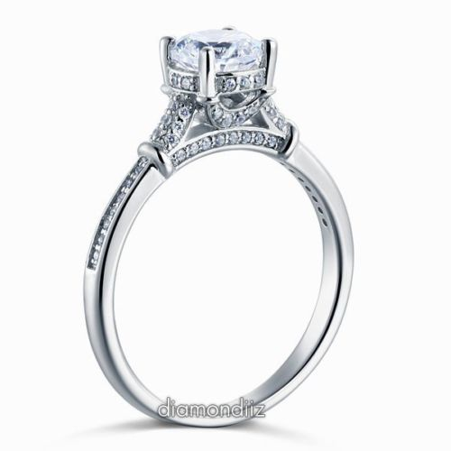 Lab Made Diamond Sterling 925 Silver Wedding Engagement Cathedral Ring - diamondiiz.com