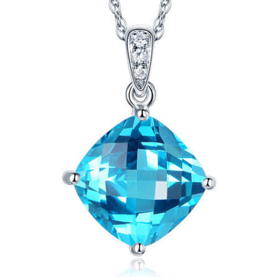 14K White Gold 4 Ct Cushion Swiss Blue Topaz Pendant Necklace 0.03 Ct Diamond - diamondiiz.com