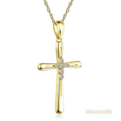 14K Yellow Gold Cross Pendant Necklace 0.13 Ct Diamonds - diamondiiz.com