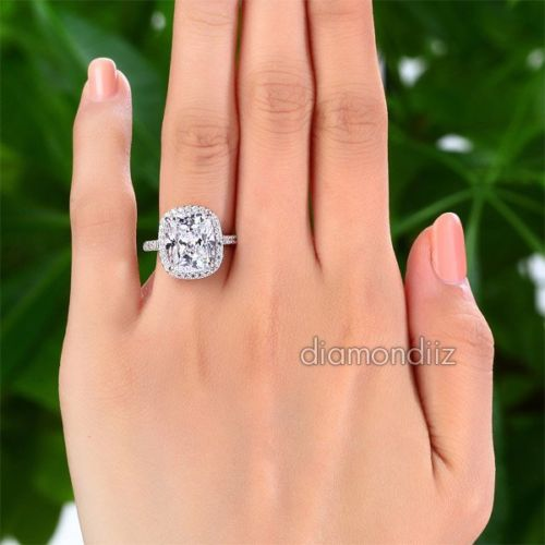 925 Sterling Silver Luxury Halo Ring 6 Ct Lab Created Cushion