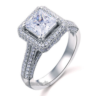 Sterling 925 Silver Wedding Engagement Ring 1.5 Ct Princess Lab Created Diamond - diamondiiz.com