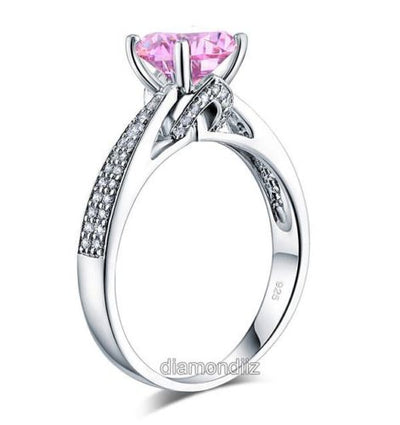925 Sterling Silver Anniversary Ring 2 Ct Fancy Pink Men Made Diamond - diamondiiz.com